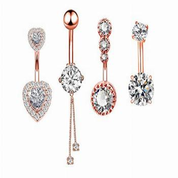 14G Surgical Steel Belly Button Rings Round/Love Heart Clear