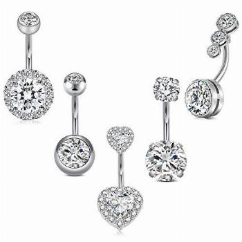 Incaton 14G Stainless Steel Belly Button Rings Navel Rings
