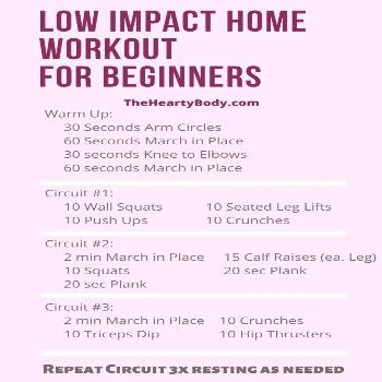 Low Impact Home Workout for Beginners Use this low impact home workout if you are a beginner and ne