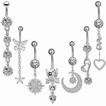 NASAMA 14G Stainless Steel Belly Button Rings for Girls