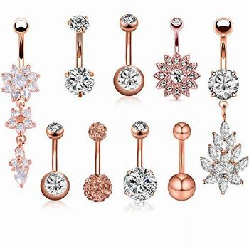 SENNI 9 Pcs 14G Stainless Steel Dangle Belly Button Rings