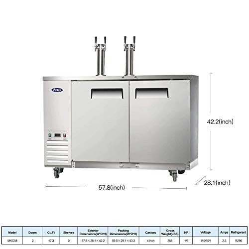 Kegerator Beer Dispenser with 2 Tap Towers, Atosa Commercial
