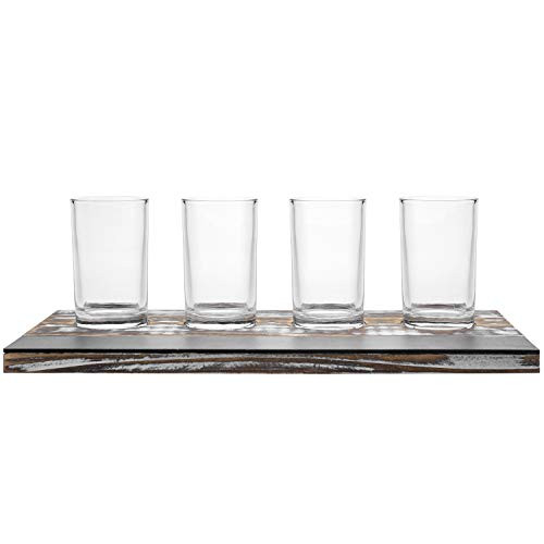 MyGift Rustic Torched Wood Craft Beer Flight Sampler Tray